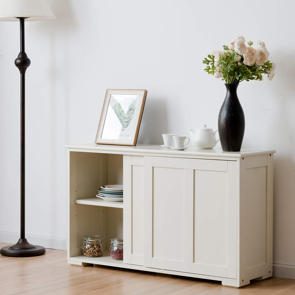 Costzon Kitchen Storage Sideboard, Antique Stackable Cabinet for Home Cupboard Buffet Dining Room White with Sliding Door Window