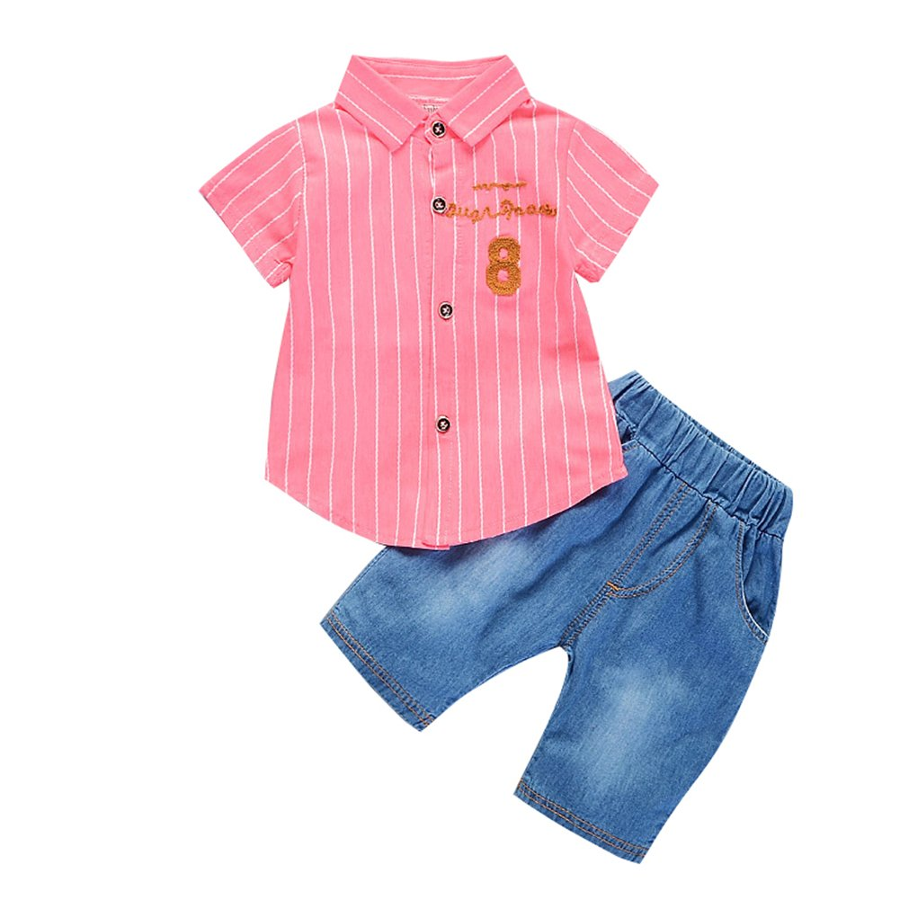 XUNYU Baby Boy Short Sleeve Tops Shirt + Jeans Outfits set Toddler Clothes Suit