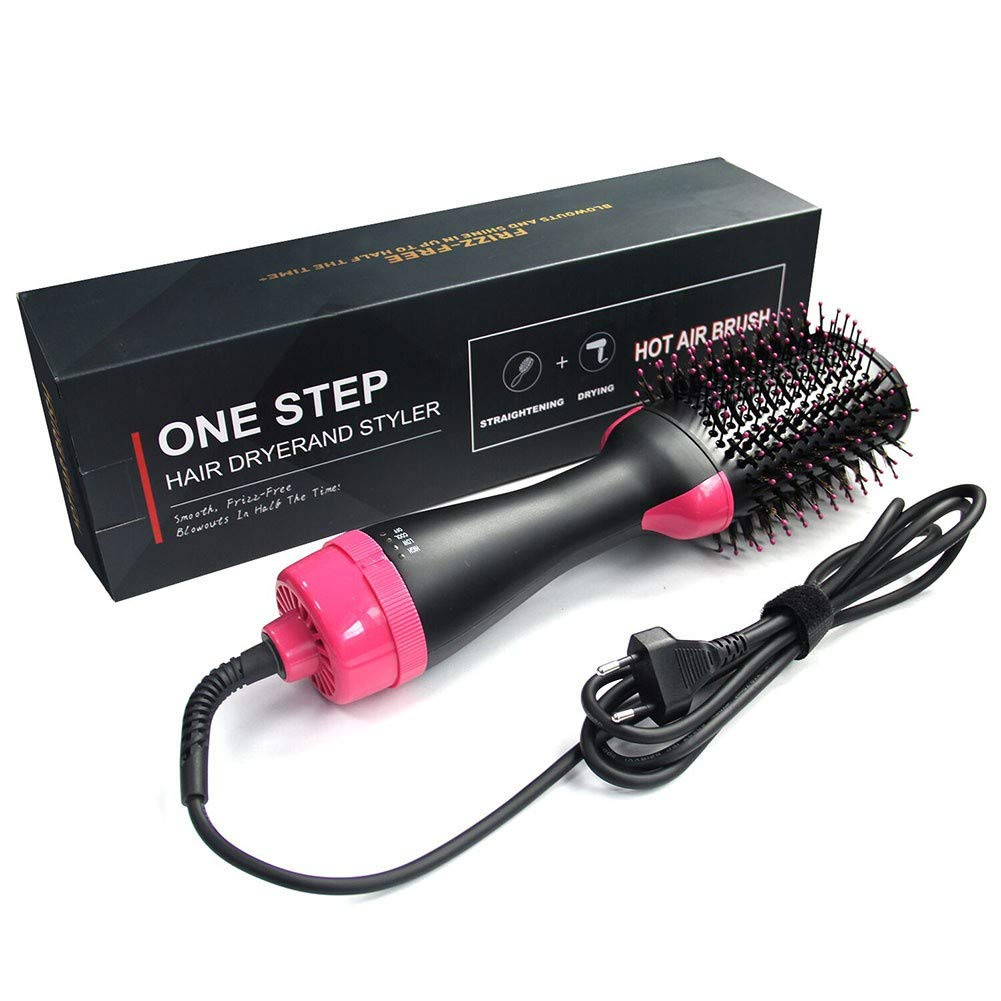 Hot Air Brush One Step Hair Dryer Styler, Multi-functional Negative Ion Hair Straightener Curly Styling Hair Comb US Plug