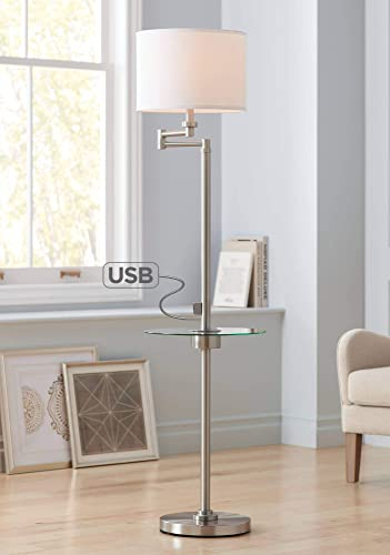 Skylar Modern Floor Lamp With Table And Hotel Style Usb Charging Port Swing Arm Brushed Nickel Fabric Drum Shade For Living Room Possini Euro Design
