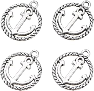 100pcs Tibetan Antique Silver Ship Wheel Anchor Charm Pendants for Crafting, Jewelry Findings Making Accessory for DIY Necklace Bracelet 19mmx13mm (B228)