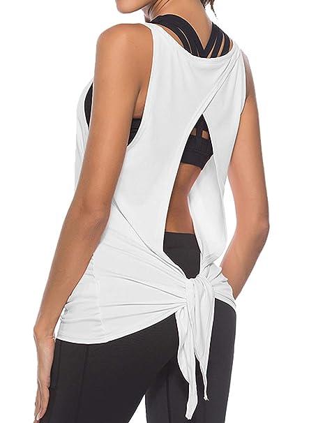 Camiseta sin Mangas para Mujer, Espalda Abierta, para Yoga ...