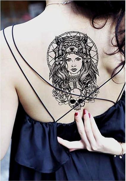 Tatuajes temporales de mujer reina lobo guerrera para hombre y ...