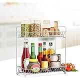 2-Tier Standing Rack Kitchen Bathroom Countertop Storage Organizer Shelf Holder Spice Rack【USA in Stock 】