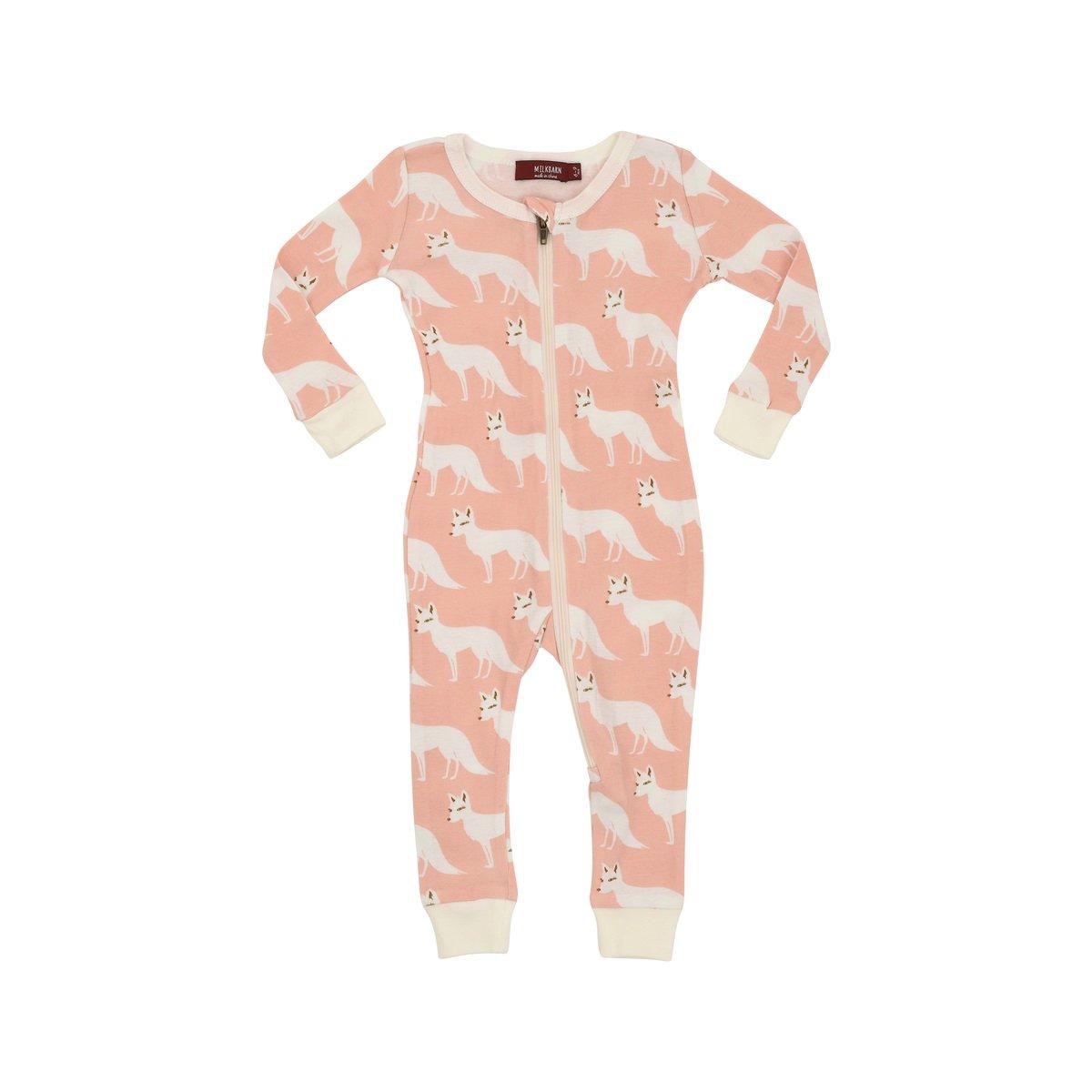 MilkBarn Organic Cotton Zipper Pajama - Pink Fox (6-9 Months) by MilkBarn