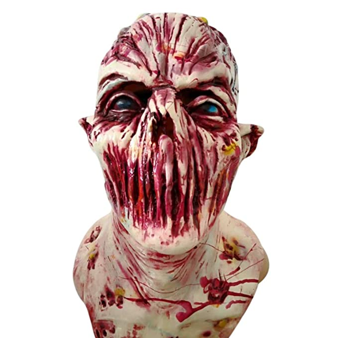 StarALL Halloween Mask Walking Dead Latex Mask Halloween Prop Full Head Horror Zombie Masks Costume Party