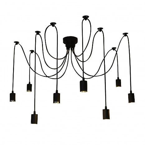 Lixada Lámpara de Techo Araña con 8 Brazos (Cada Uno con Cable 1.7m) Antiguo Clásico Ajustable Retro DIY Lámpara Pendiente para E27 para Salón Comedor ...