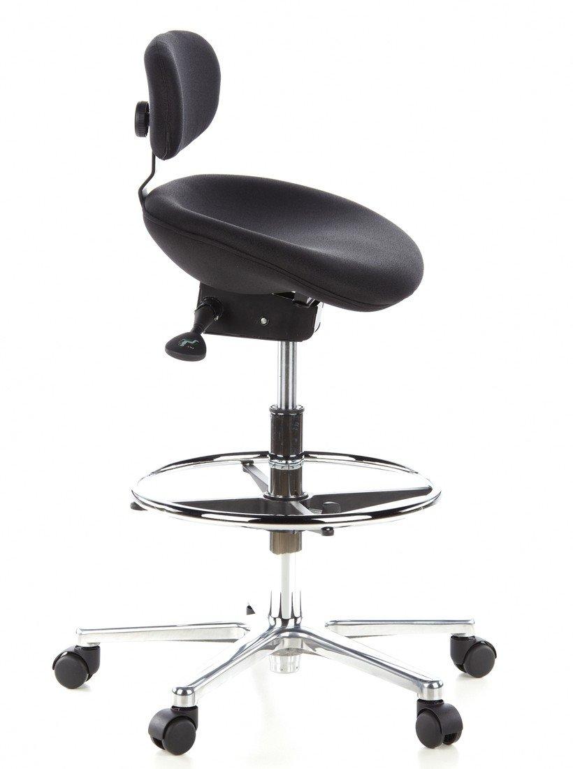 Drehhocker ergonomisch  hjh OFFICE 608300 Arbeitsstuhl Drehstuhl WORK MF Stoff schwarz ...