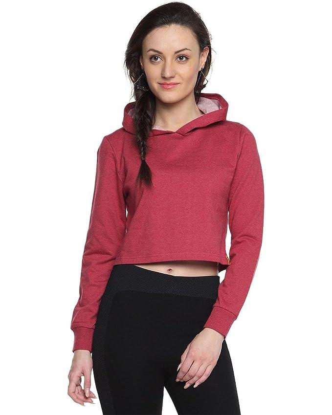 Campus Sutra Women Crop Hoodie Sweatshirts   Hoodies