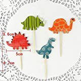 Megrocle 48 Pcs Christmas Dinosaur Cupcake Toppers Xmas Picks Toppers Muffin Food Toppers Fruit Toppers for Kids Birthday Party,Dinosaur Themed Party,Picnic Wedding , Baby Shower,Christmas Party Decor