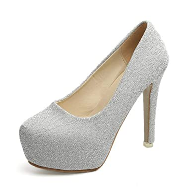Amazon.com  Hanxue Women s Glitter Round Toe Pumps Platform High Heels  Dress Pumps Chunky Heels  Clothing 7aaaf21034