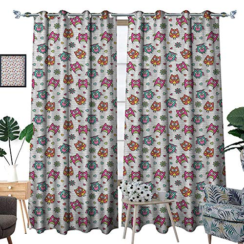 Warm Family Owls Waterproof Window Curtain Cute Cartoon Owls Hearts and Daisy Flowers Romantic Funny Characters Scrapbook Style Blackout Draperies for Bedroom W108 x L96 Multicolor