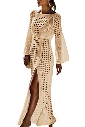 e0784964bb Walant Womens Crochet Swimsuit Cover Up Dress Slit Split Bathing Suit Maxi  Beach Dress Beige
