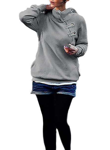 Mujer Sudaderas con Capucha Elegantes Deportivas Hoodies Invierno Otoño Vintage Manga Larga Clásico Especial con Cremallera Botones Sweatshirts Moda Basicas ...