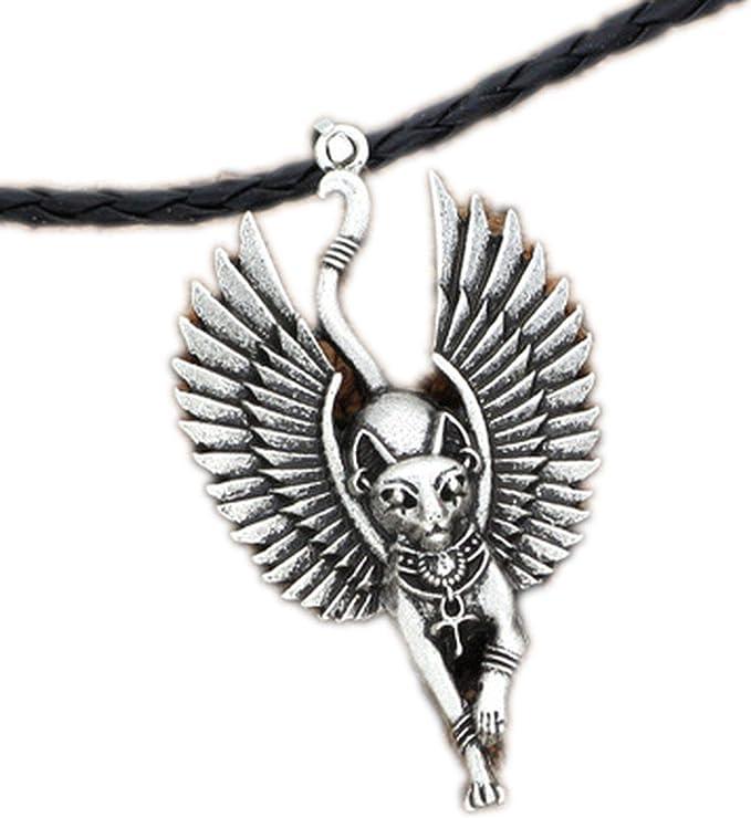 1 Amulet Jewelry Cat Bastet Necklace Ancient Egyptian Bastet Statue Egyptian Sphinx Black Cat Bastet Pendant Egypt Cat with Wing, Antique Silver, 58   Amazon.com