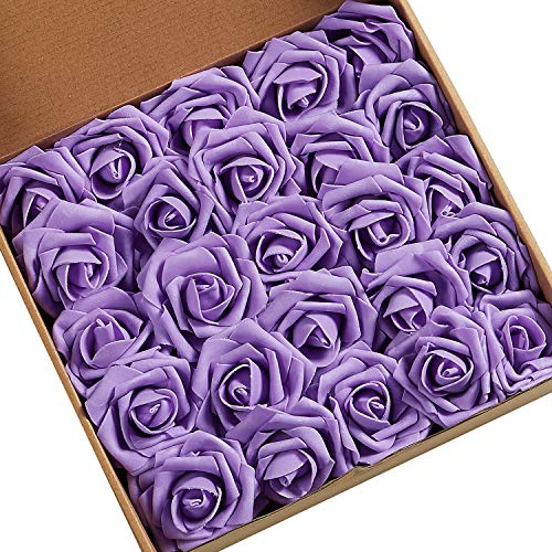 N&T NIETING Roses Artificial Flowers, 50pcs Real Touch Artificial Foam Roses Decoration DIY for Wedding Bridesmaid Bridal Bouquets Centerpieces, Party Decoration, Home Display (50pcs Lavender) -