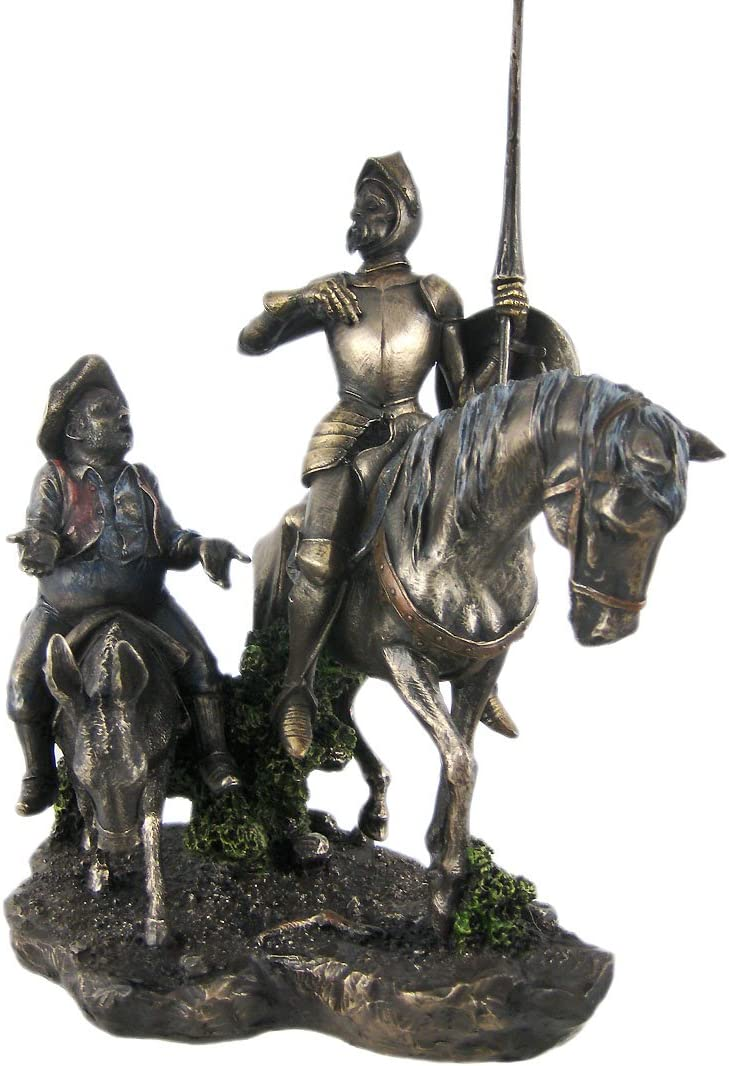 StealStreet 13.75-Inch Bronzehued Don Quixote and Sancho Panza on Horses Figure