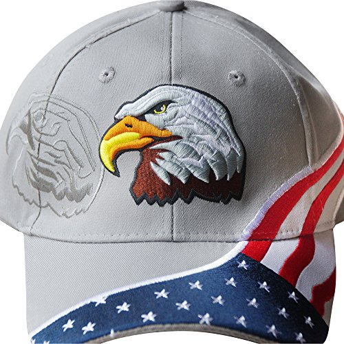Eagle 5 Embroidery (American Flag Hat - USA Eagle Baseball Cap with 100,000 Embroidery Stitches (Grey), Great Dad Gift)
