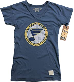 pretty nice 52f84 feb38 St. Louis Blues Retro Brand Women Blue Pocketed Short Sleeve V-Neck T-