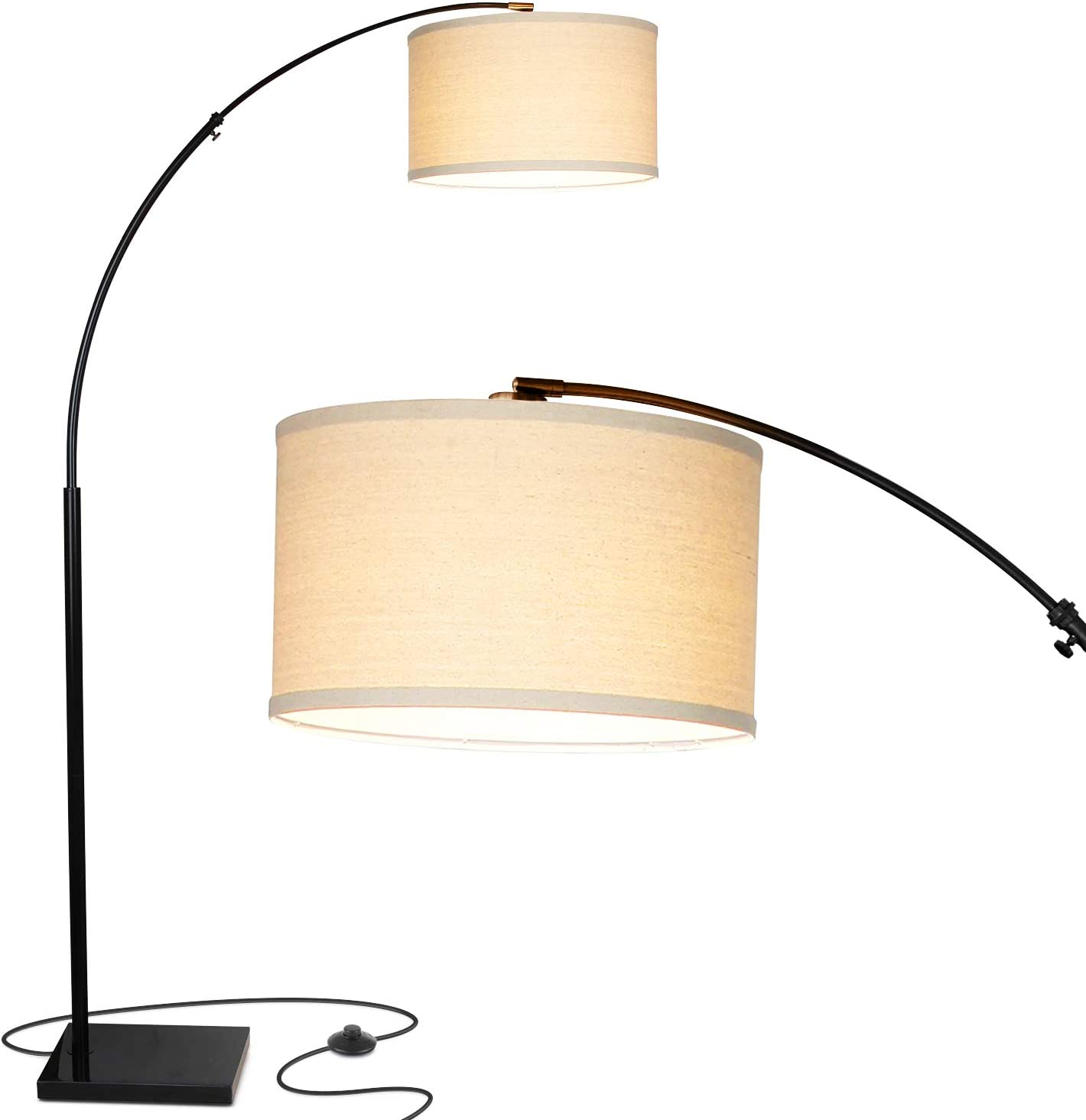Brightech Logan LED Arc Floor Lamp with Marble Base – Living Room Lighting For Behind the Couch – Modern, Tall Standing Hanging Light – Black