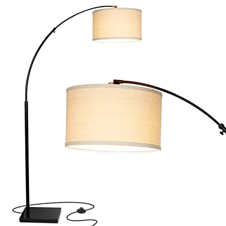 Brightech Logan Led Arc Floor Lamp With Marble Base   Living Room Lighting For Behind The Couch   Modern, Tall Standing Hanging Light   Black by Brightech