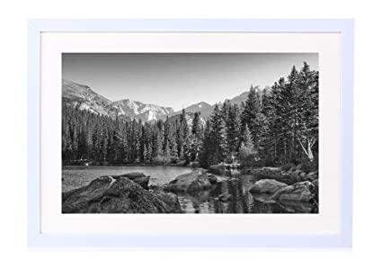 Bear lake in colorado rockies art print white wood framed wall art picture black and