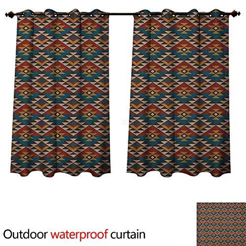 (Anshesix Native American 0utdoor Curtains for Patio Waterproof Ethnic Knitted Seem Jacquard View Fabric Geometric Image W72 x L63(183cm x 160cm))