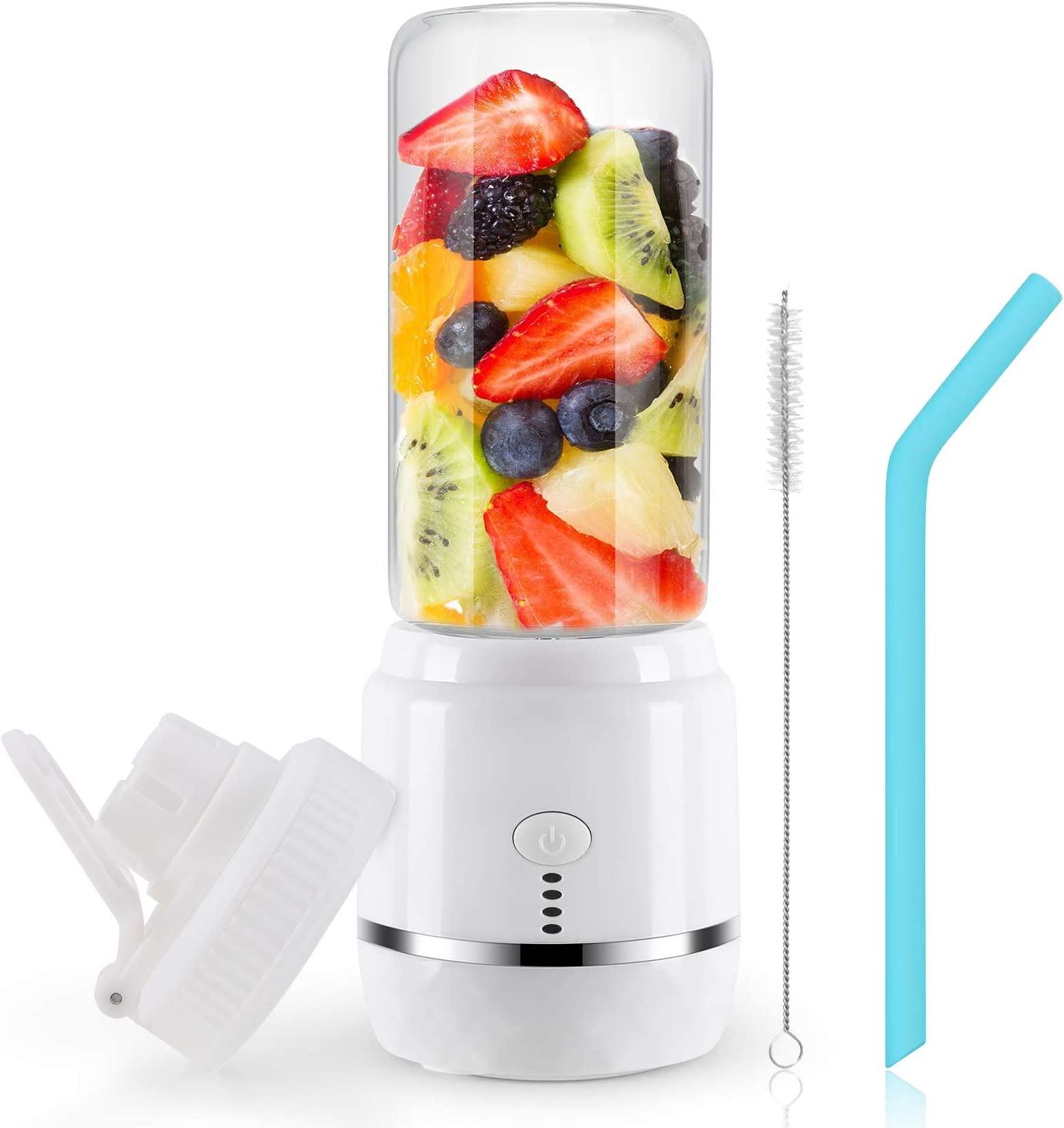 Portable Blender USB Rechargeable, Personal Blender Single Serve Blender, Small Blender Shakes Travel Blender Cup 400ml (FDA and BPA free) (white)…