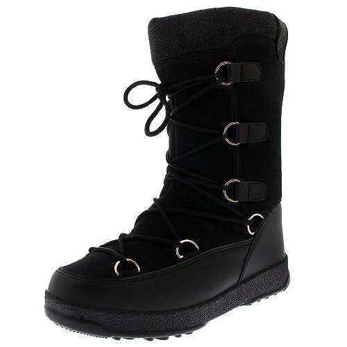 66529c3c3ca5f Mujer Nieve Invierno Impermeable Térmico Durable Forrado De Vellón Rodilla  Alta Botas - Negro Textil -