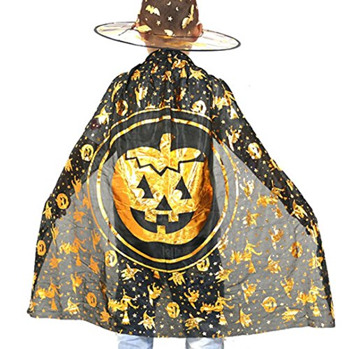 [hatop Halloween Children Cloak Masquerade Cos Props Small Devil Horns Gowns (Gold)] (Naruto Deluxe Child Jacket Costumes)