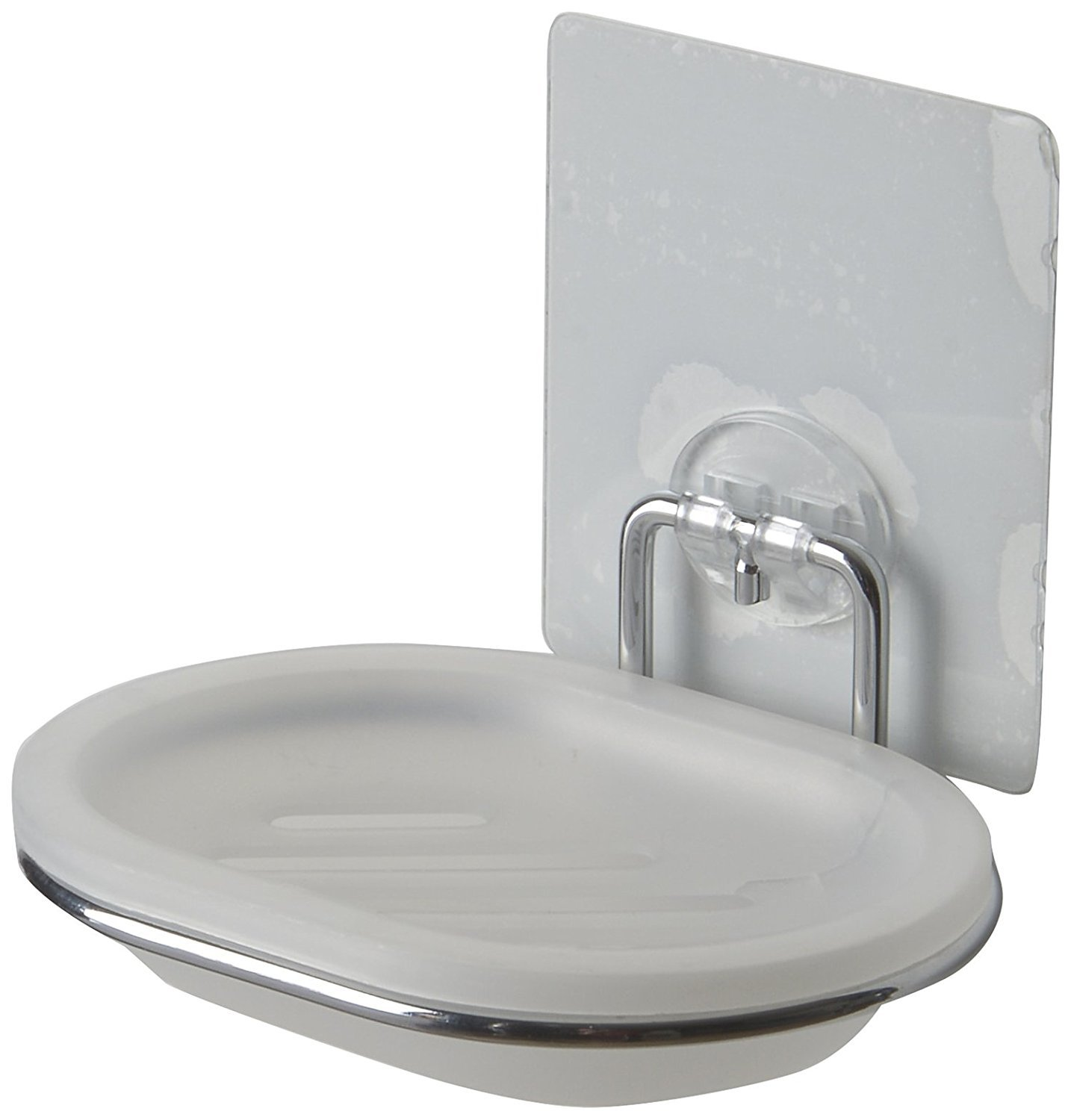 Compactor Bestlock Magic No Drilling Wall Mounted Soap Dish with Holder, Chrome and White C.I.E. Europe B00KRYQWO2