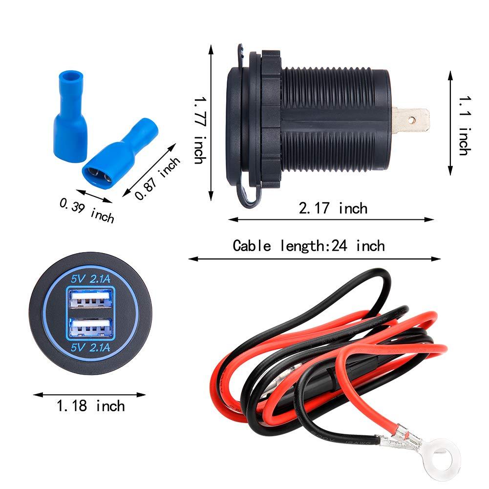 Barca Ecc. Suv con Indicatore LED per Auto e Moto JTENG Presa per Auto Doppio USB Impermeabile 12V // 24V 36W 5V 2.1A 2 Porte Caricabatteria Presa USB