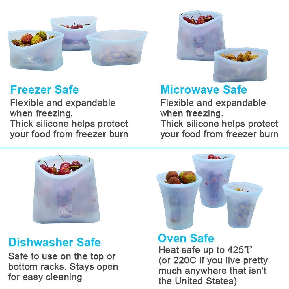 8 recipientes reutilizables de silicona con cierre de cremallera ...