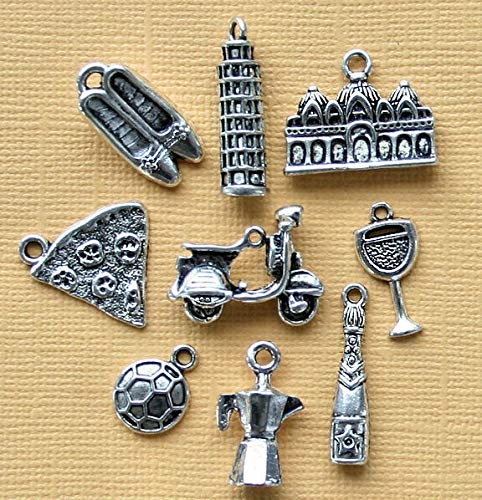 Extensive Collection of Charm Italy Charm Collection Antique Silver Tone 9 Different Charms - COL185 Express -
