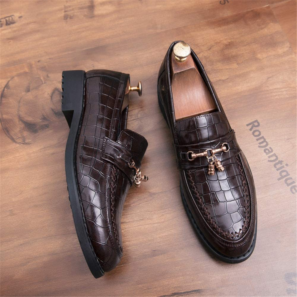 TongLing Mens Fashion Oxford Casual Personality Mesh Texture Rustproof Metal Patent Leather Semi Formal Shoes