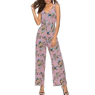 af2a9e849a59 Longay Women Tank Buttons V Neck Birds & Flowers Prints Romper Jumpsuit  Long Dress (S