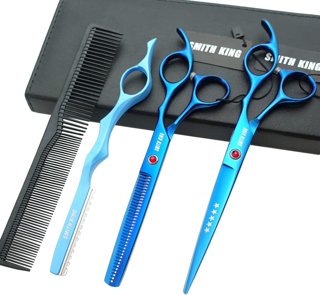 7.0 Inches Professional hair cutting thinning scissors set with razor (Blue)