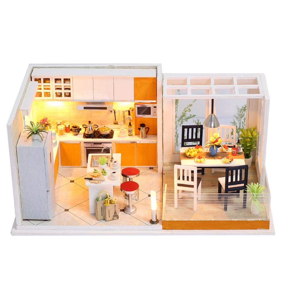 KUGIN Creative Mini Kitchen Restaurant Greenhouse Craft Kit Combination Assembly DIY Toy House with Furniture and Accessories