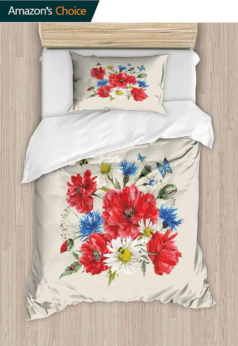 Flowers Diy Quilt Cover and Pillowcase Set, Vintage Watercolor Bouquet of Wildflowers Poppies Daisies Cornflowers Butterflies, Reversible Coverlet, Bedspread, Gifts for Girls Women, 63 W x 82 L Inches