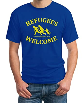Refugees Welcome Bring Your Families - Flüchtlinge T-Shirt XXX-Large Blau