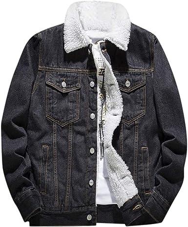 Beautyfine Mens Flannel Coat Pure-Color Coat Casual Cardigan Collar Winter Warm Top