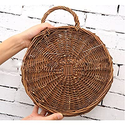 MOTINA Handmade Woven Hanging Basket Natural Wicker Hanging Storage Basket for Home Garden Wedding Wall Decoration: Garden & Outdoor