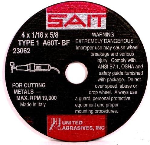 B000FEJF48 United Abrasives- SAIT 23062 Type 1 4-Inch x 1/16-Inch x 5/8-Inch 19000 Max RPM A60T - Burr Free Cut-Off Wheels, 50-Pack 61HFWZA5E6L