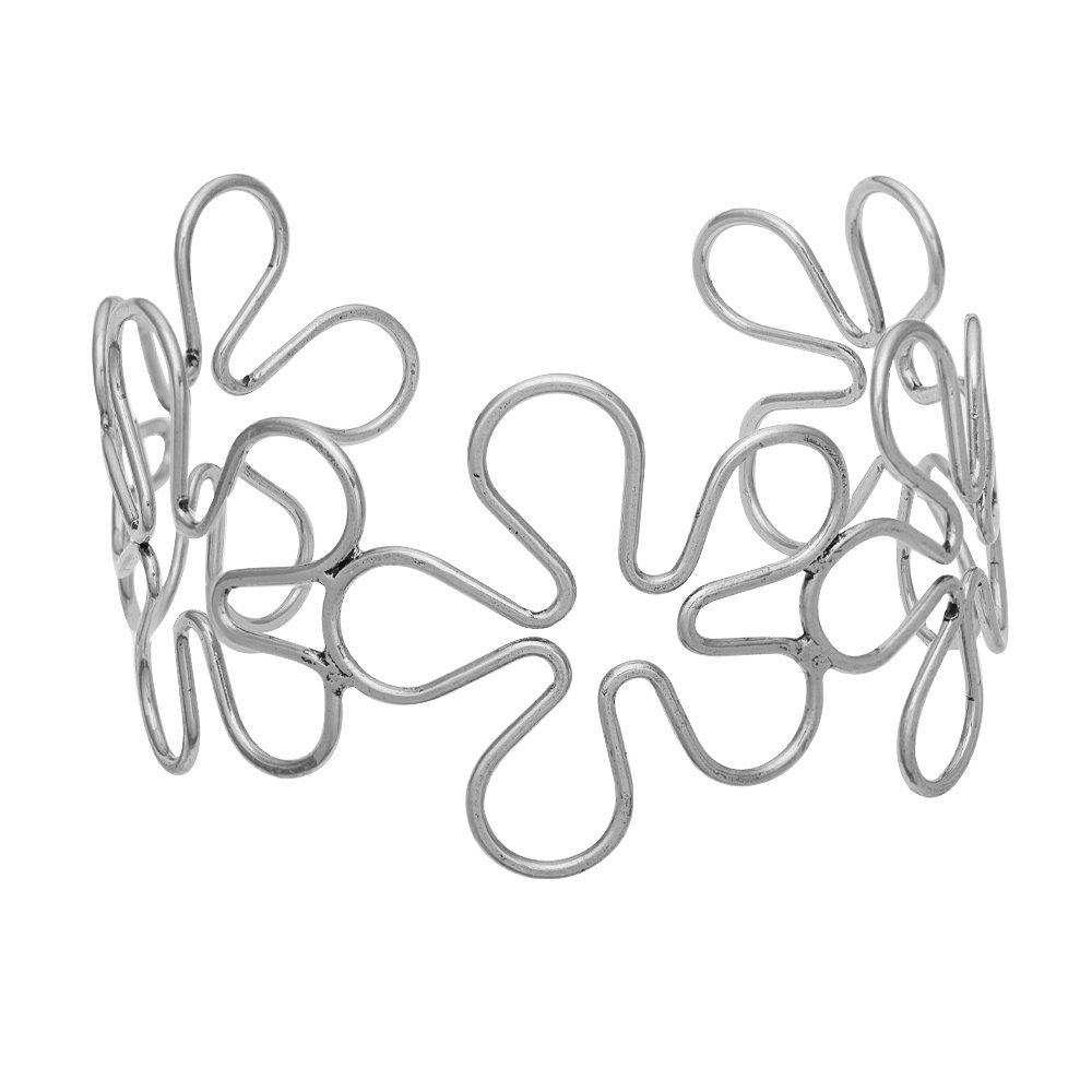 TUSHUO Flower Arm Bangle Hollow Flowers Arm Bracelet Gypsy Boho Open Armband Upper Arm Cuff Armlet (Silver)