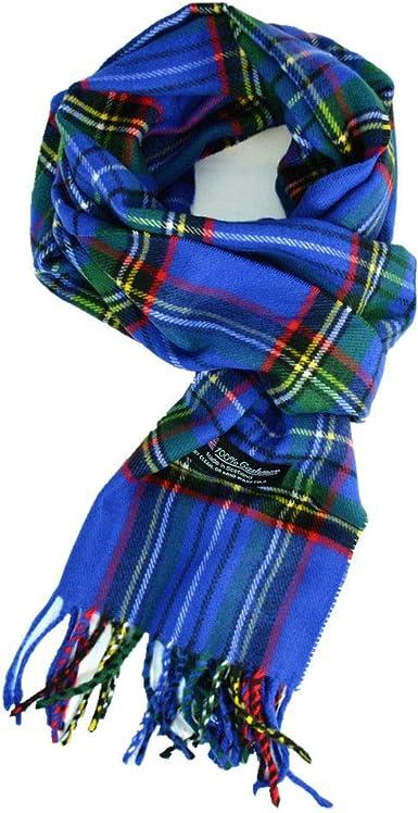 Men Women 100/%CASHMERE SCARF SCOTLAND Wool Wrap Plaid Check Blue Black White