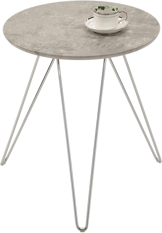 IDIMEX Couchtisch BENNO, Beistelltisch Wohnzimmertisch Sofatisch  Stubentisch, rund, Füße aus Metall verchromt, Betonoptik