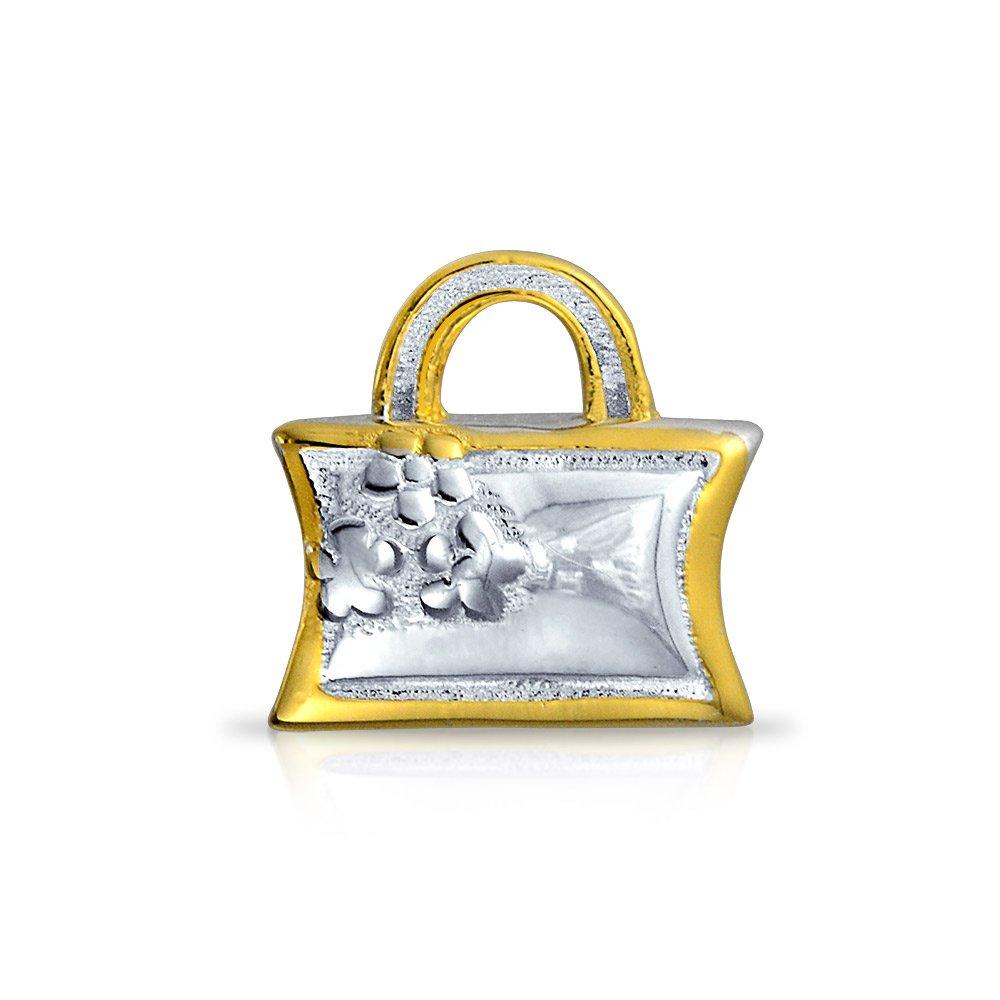 Gold plated Flower Purse Charm Bead .925 Sterling Silver