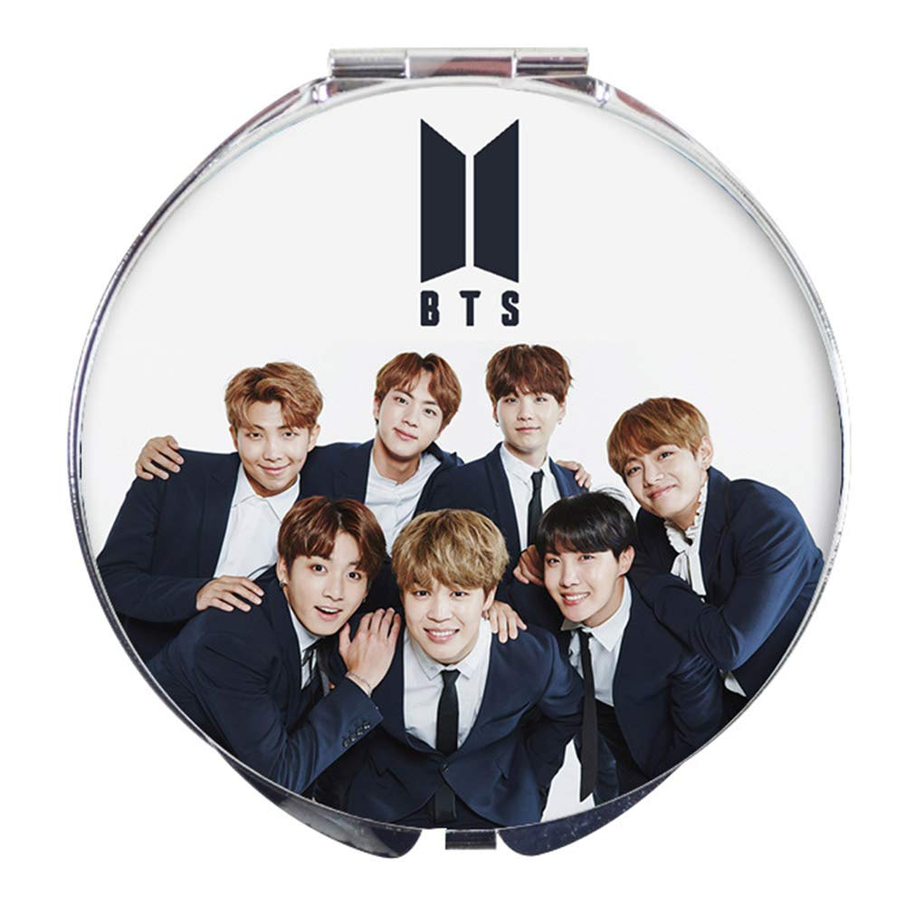 Youyouchard BTS Bangtan Boys Love Yourself BTS Mirror Makeup Mirror Pocket Folding Face Mirror Compact for Friends who Love BTS - F(F02 Diameter 7cm)