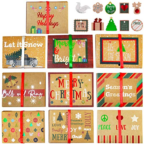 30 Pcs Christmas Gift Cards Box Foil Kraft Paper Christmas Pattern Wrapped Envelope Card Boxes with Ribbon Holder and…