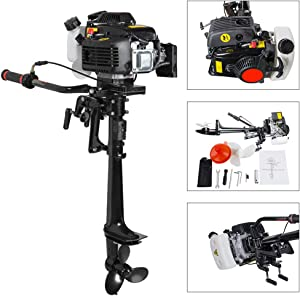 Zinnor Boat Engine, Outboard Boat Motor 4 Stroke 3.6 HP Heavy Duty Superior Outboard Motor Boat Engine with Water Cooling System – Shipping from USA